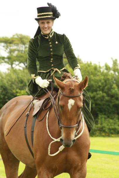 Green Velvet Riding Habit with Gold Piping and Top Hat | Riding Aside or Side Saddle | Philippa Jane Keyworth